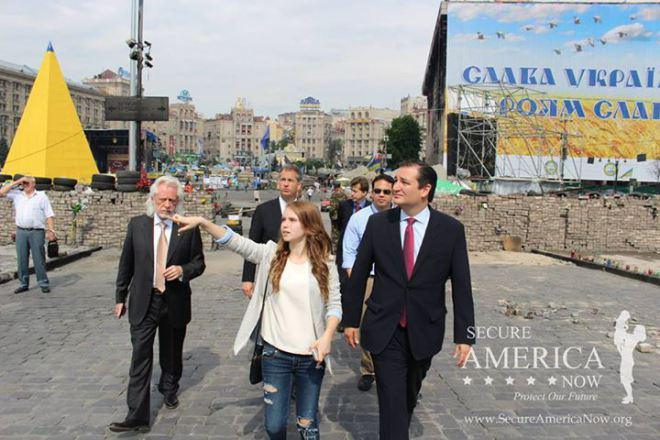 Bleyzer (left) with US presidential candidate Ted Cruz on Maidan Square in Kiev. (Source: Secure America Now)