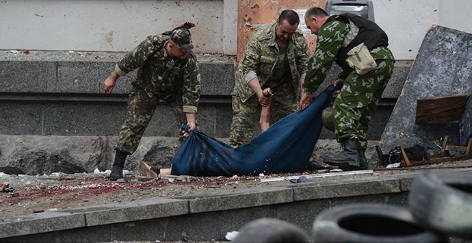 2 de junio de 2014, las tropas ucranianas bombardearon el centro de Lugansk.