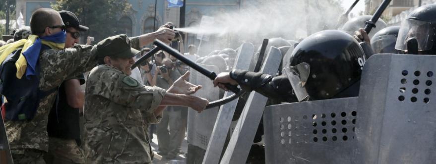 Protestas de la extrema derecha contra la ley de descentralización en agosto de 2015. La ley aún no ha sido ratificada.