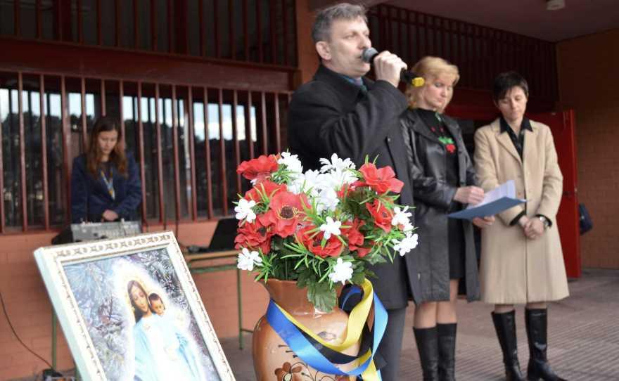 Yuriy Chopyk en un acto en Madrid de homenaje a Maidan y las fuerzas ATO. Febrero de 2015