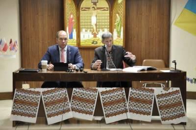 Paul Grod y Yuriy Chopyk durante las reuniones del Congreso
