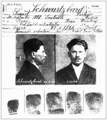 Ficha policial de Samuel Sholom Schwartzbard