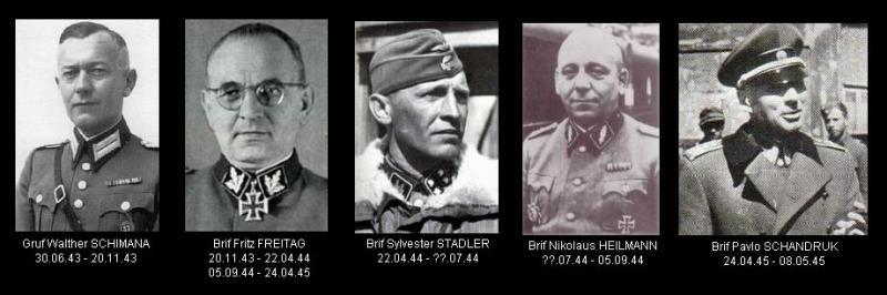 Los diferentes comandantes de la división.