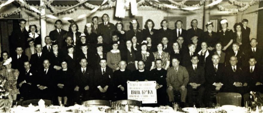 Acto de homenaje, como indica el cartel, a Ivan Buchko