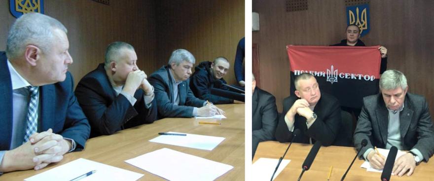 Serhiy Sternenko presiona a los jueces en noviembre de 2015. Por primera vez, la extrema derecha evita la puesta en libertad de Evgeny Mefedov