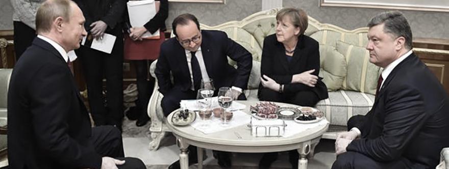 Putin, Hollande, Merkel y Poroshenko en una de las reuniones del Cuarteto de Normandía