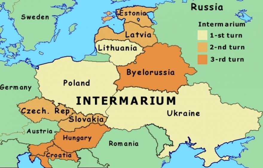 El proyecto por etapas de ampliación de Intermarium según QHA.com.ua, con alguna variación respecto a lo señalado por Kravchenko.