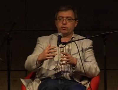 Oleksandr Sushko en su intervención de 2014 en el CCCB, Barcelona