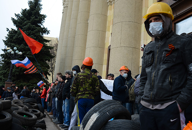 Protestas en Járkov en la primavera de 2014.