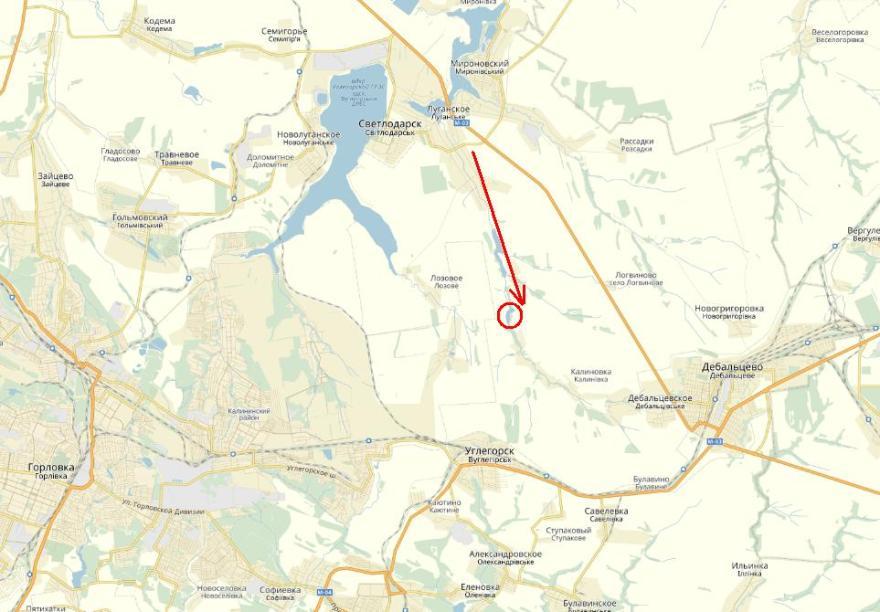 Dirección del ataque de la 54ª Brigada desde Svetdolarsk hasta Markov Yar (señalado), donde los soldados quedaron rodeados.