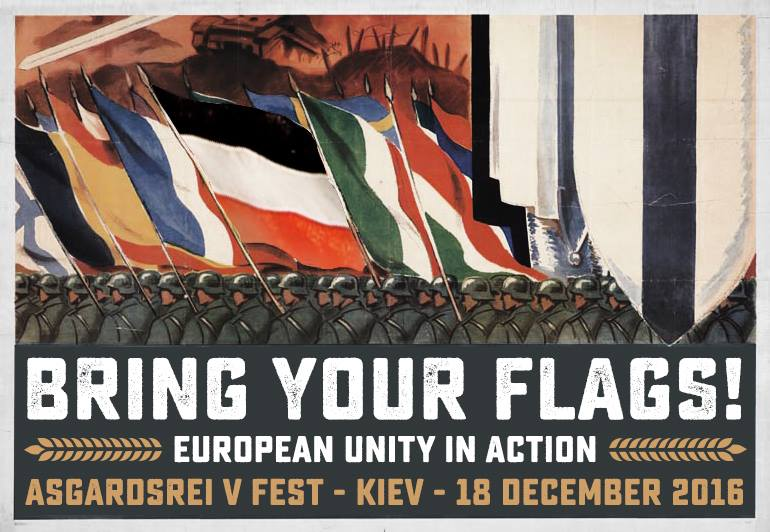 """Cartel de estilo nazi-fascista para el Asgardsrei V, apelando a que cada nación aporte su bandera en una demostración de """"verdadera unidad europea en acción""""."""
