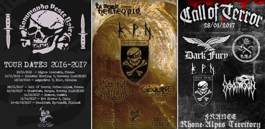 Carteles de los conciertos de Peste Negra. A la izquierda, los conciertos de sus giras, dos de ellos ya anulados, uno por la prohibición que afecta a KPN en Alemania, el segundo por la presión ejercida para que no actuaran en Noruega (Blastfest).