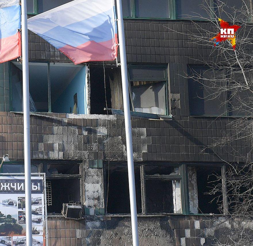 La ventana de la oficina de Givi tras el atentado / Viktor Guseynov
